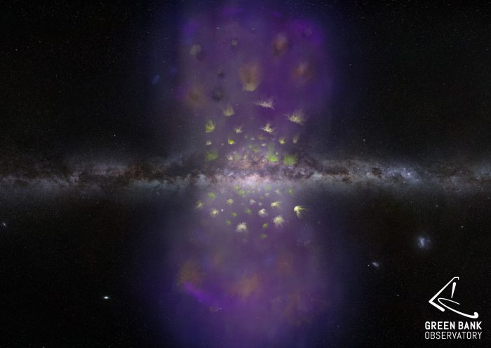hydrogen clouds expanding from center of Milky Way galaxy